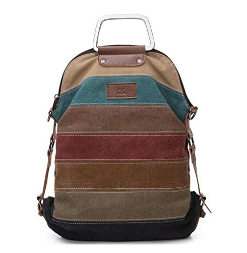 Ethnic Rainbow Women's Canvas Backpack Ladies Striped bag Patchwork Rucksack Crossbody bag (brown)