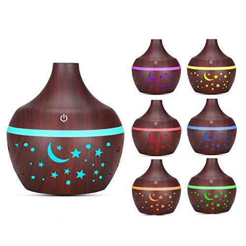 Diffusore di aroma 300ml Diffusore d'aria Umidificatore di olio essenziale aromatico Umidificatore di nebbia per aromaterapia 7 luci a LED che cambiano colore Emissione nebbia(Grano di legno chiaro)