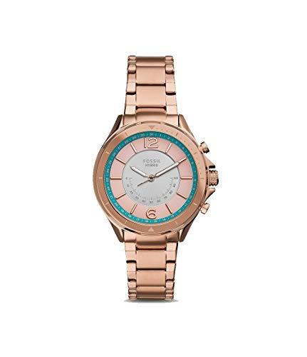 Fossil Sadie - Hybride smartwatch roze wijzerplaat met roségouden roestvrijstalen band voor dames-FTW5080