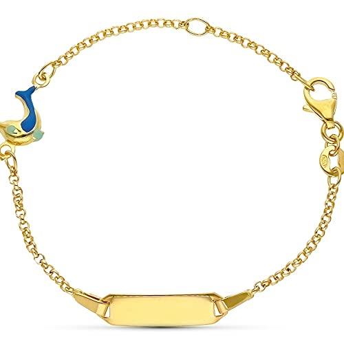 Esclava pulsera oro 18k niño 16 cm. forzada detalle delfín eslmaltado pulsera mosquetón chapa lisa - Personalizable - GRABACIÓN INCLUIDA EN EL PRECIO
