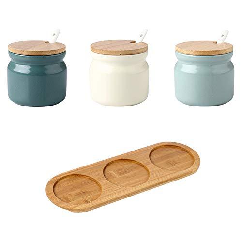OnePine 3er Set Keramik Gewürzdosen, 300ml Zuckerdose Keramik Zucker Schüssel Salzstreuer mit Löffel und Bambus Deckel für Tee Zucker Salz Gewürze