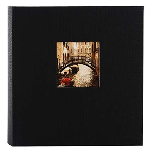 goldbuch 27977 Fotoalbum mit Fensterausschnitt, Bella Vista, Erinnerungsalbum 30 x 31 cm, Foto Album 60 schwarze Seiten mit Pergamin-Trennblättern, Fotobuch aus Leinen, Schwarz