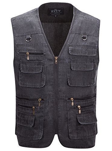 Alipolo Summer Men's Mesh Fly Fishing Vest?Men Fast Dry Mesh Vest? Sleeveless Jacket Dark Grey US XL/Label 3XL