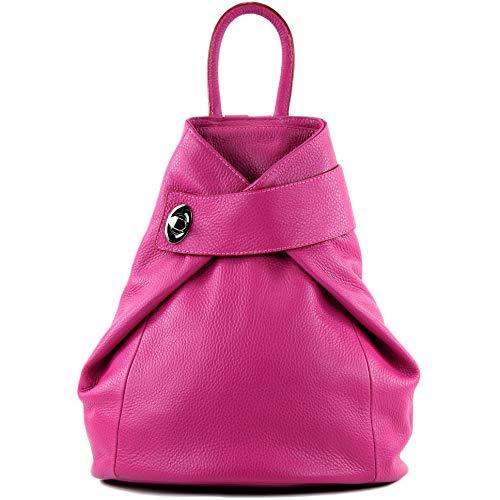 modamoda de - T179 - ital: Damen Rucksack Tasche aus Leder, Farbe:Pink