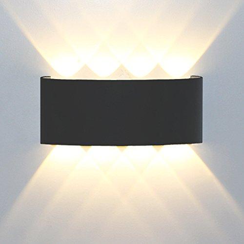Wandleuchte Led Modern,8W Led Wandlampe Aluminium Leuchten Wandlicht Wasserdichte IP65 Design Aussenleuchte Up Down Wandbeleuchtung 3000K Warmweiß (Schwarz)