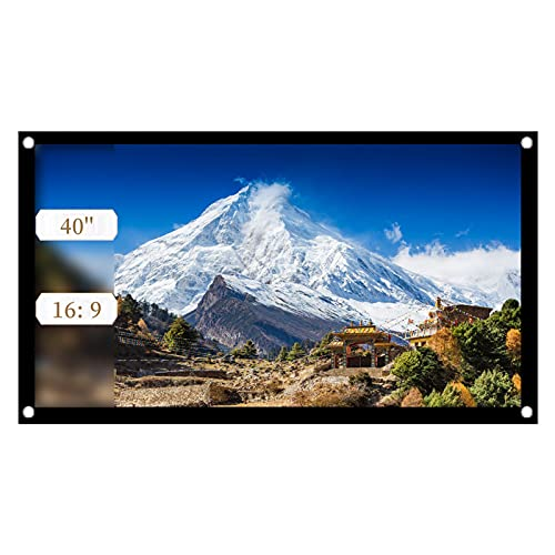ASHATA Rolloleinwand Beamer Leinwand,16: 9 Projektion Leinwand Tragbare Faltbare Beamerleinwand,Geeignet für Heimkino-Projektionsfilme im Freien/Innenbereich/Camping(40 Zoll)