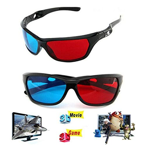 VizGiz 2 Pack 3D Glasses for TV Cyan Red Blue 3 Dimensional Glasses for Anaglyph Stereoscopic Movie Comic Book Photo Projector Computer Screen Game DVD Film Television Home Theater