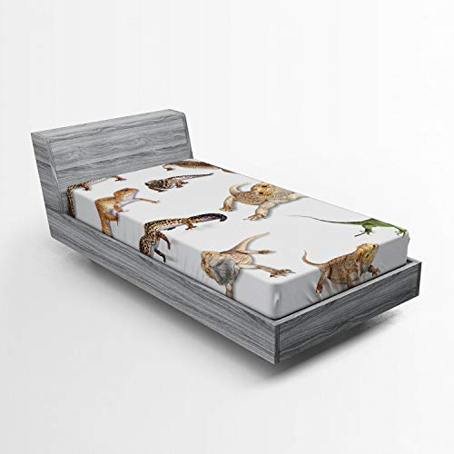 Ambesonne Reptile Fitted Sheet, Colorful Staring Leopard Gecko Family Image Prehistoric Reptiles Wildlife Art Print, Soft Decorative Fabric Bedding All-Round Elastic Pocket, Twin Size, White Beige