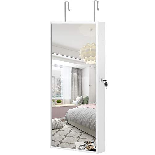 SONGMICS Schmuckschrank hängend, Spiegelschrank mit LED-Innenbeleuchtung, Wandschrank mit Ganzkörperspiegel, Wandmontage, an der Tür hängend, Geschenk, weiß JJC65WT