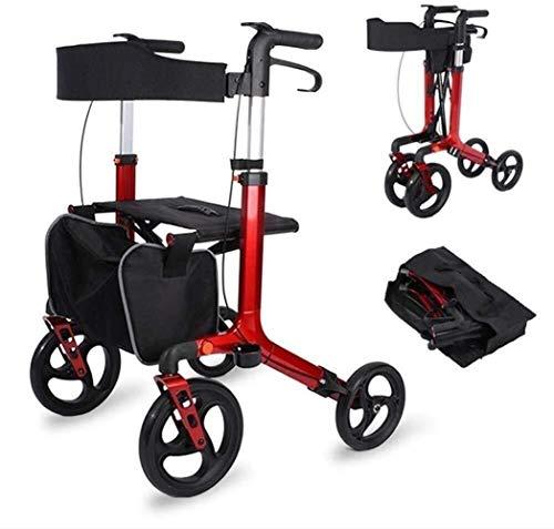 Vouwen Aluminium Mobility Walkers 4 Wielen En Stoel Standaard Wandelen Frames Rollator Walker Lichtgewicht Hulp Rolling Walker Voor Volwassenen, Senior, Ouderen En Handicap Mobiliteit