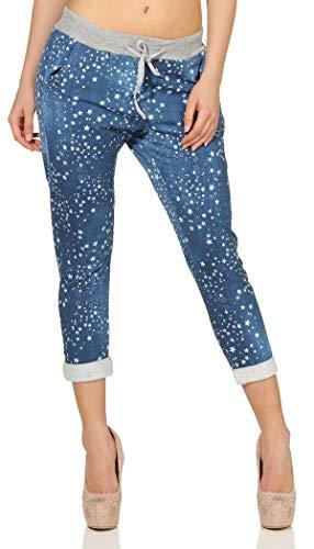 Mississhop 287 Damen Hose Cargohose Blumen Sweatpants Jogginghose Baumwolle Freizeithose Boyfriend Jeans mit Sternen 300