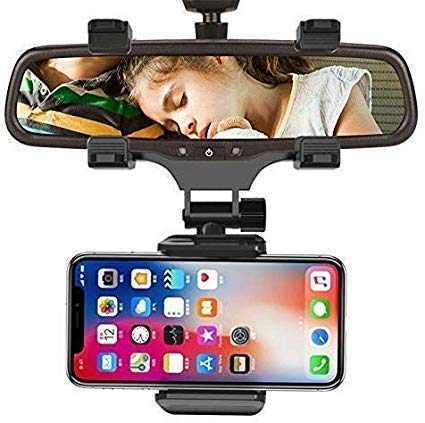 BOKA® Car Rear-View Mirror Mount Stand – Anti Shake Fall Prevention 360 Degree Rotation with Anti-Vibration Pads Universal Adjustable Car Mount Holder Supports Upto 6.5″ inch Mobiles – Black