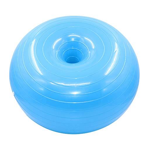 ABOOFAN 1 bola auxiliar de yoga de 50 cm con forma de donuts para fitness, a prueba de explosiones, bola de equilibrio para el hogar en el interior con bomba de aire (azul)