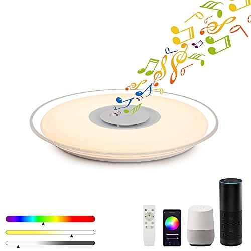 MAKELONG Luces de techo LED con altavoz Bluetooth, 36W 450mm 3000lm, compatible con Tuya, Alexa y asistente de Google, control remoto 2.4G, ajuste de brillo y colores, modo RGB,Luz de noche