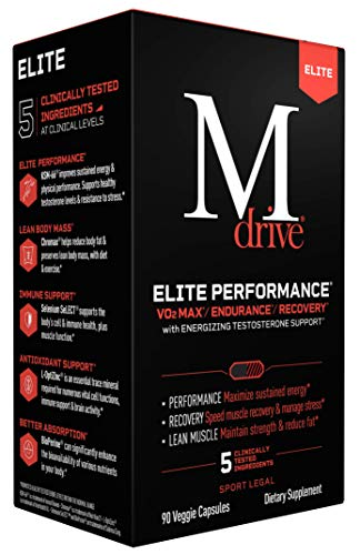 Mdrive Elite Testosterone Booster for Men - Supports Immune Health, Energy, Sports Performance, Cardio, VO2Max, Recovery, Stress Relief, Lean Muscle, KSM-66 Ashwagandha, DIM, Fenugreek, Chromium, 90ct