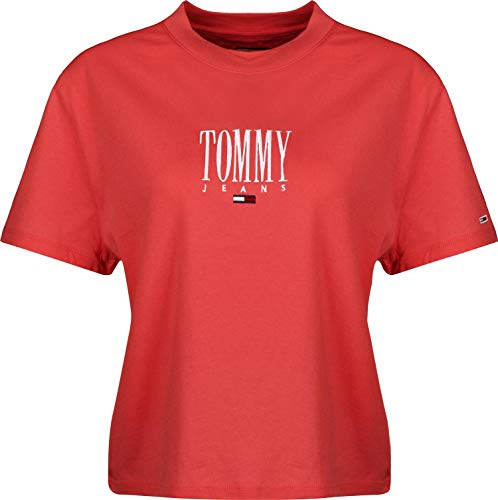 Tommy Jeans Cropped Logo Embroidery Maglietta, Rosso (Flame Scarlet 667), Medium Donna