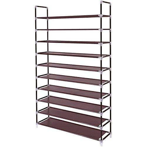 Acedas 10 Tiers Shoe Rack 50 Pairs Non-Woven Fabric Shoe Storage Organizer Cabinet Tower (Dark Brown)