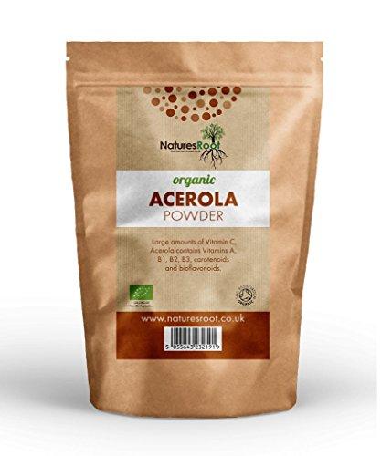 Natures Root Organic Raw Acerola Powder 60g - Vitamin C | Cherry Extract | Freeze Dried | GMO Free