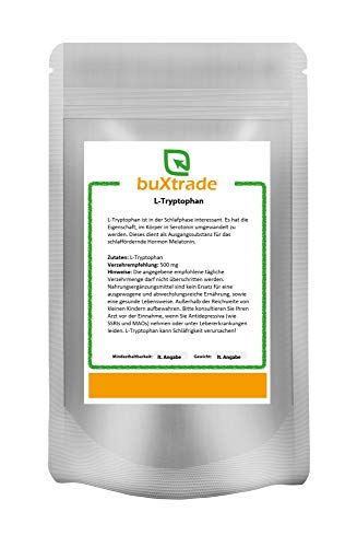 500 g Tryptophan Pulver – Tryptophane | L-Tryptophan | Fitness | Sport | Schlaf | Buxtrade 0,5 kg