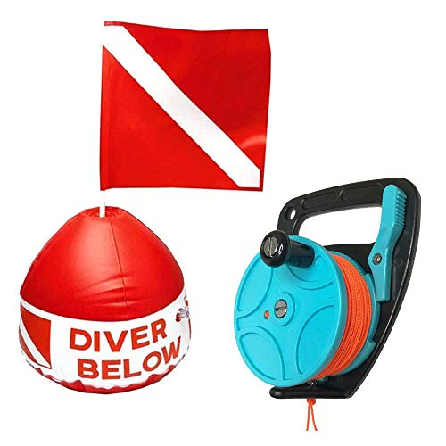 fried Zubehör Scuba Diving einziehbare Spule Finger Line aufblasbares Signal Floater Tauchoberfläche Sichtmarkierung für Schnorcheln Gummi (Farbe: mehrfarbig)