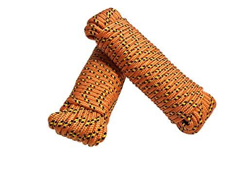 Seil 8 mm 40 m - 2 Stück-Set - Polypropylenseil PP, Festmacherleine, Allzweckseil, Strick, Gartenseil, Outdoor - Bruchlast: 700kg, 40m x 8mm 2er Set (2x 20 m), orange-gelb-schwarz
