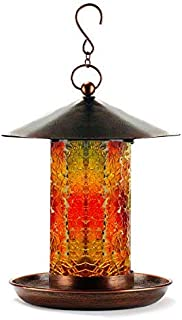 WDS Solar Powered Hanging Bird Feeder for Outside   Handcrafted Mosaic Glass Tube   Dazzling Bronze Bird Feeders for Outdoors   Waterproof Garden Birdfeeder - Unique Gift Idea
