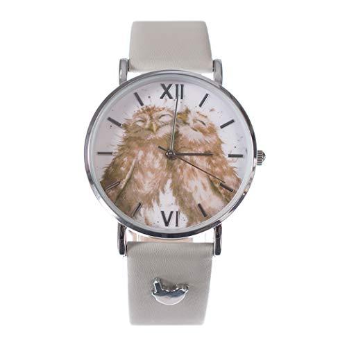 Wrendale Ontwerpen Vogels van Een Veer Horloge Uil Horloge met Vegan Lederen Band