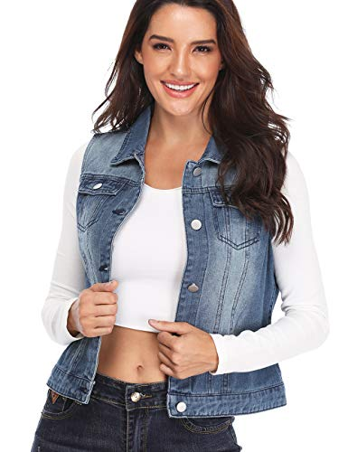 Denim Vest for Women Distressed Classic Button Sleeveless Jean Jacket Blue M