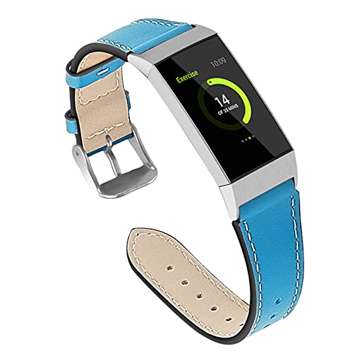 ZLYZS Correa De Cuero Compatible con Fitbit Charge 4 / Charge 3, Correas De Repuesto Correas De Color Sólido Banda De Reloj Deportivas Hombre Mujer Pulsera Transpirable para Charge 4/3,Azul