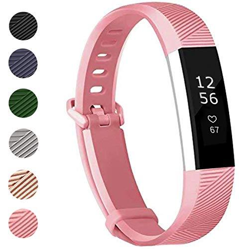 ANNYOO für Fitbit Alta HR Armband und Alta Armband, Alta Armband Weiches Verstellbares Sport Ersatzarmband Fitness Zubehörteil mit Metallschließe (S/Rose Pink)