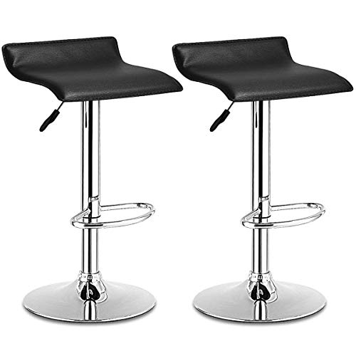 COSTWAY Bar Stool, Swivel Adjustable Contemporary Stools, Modern Design Chrome Hydraulic PU Leather Backless Barstools Set of 2(Brown)