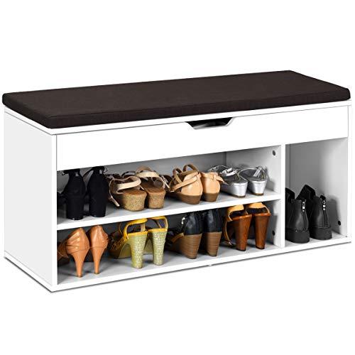 COSTWAY Schuhbank mit Sitzfläche, Schuhregal Holz, Schuhkommode Schuhablage Schuhschrank aufklappbar, Sitzbank mit Regal Sitzkissen 104x30x48cm(weiß)
