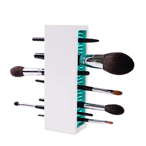 Makeup Brushes Holder Organizer, Silicone Vanity Air Drying Rack Display Storage for Brush, Eyeliners and More, Practical Cosmetic Tools Container by NASHI-White