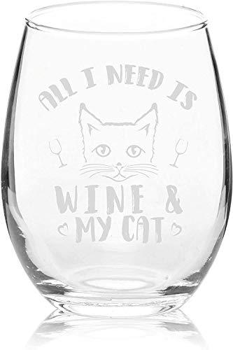 All I Need is Wine & My Cat - Copa de vino sin tallo, 315 ml, diseño clásico divertido para gato, mamá, gato loco, señora, amante de los animales, rescate mamá