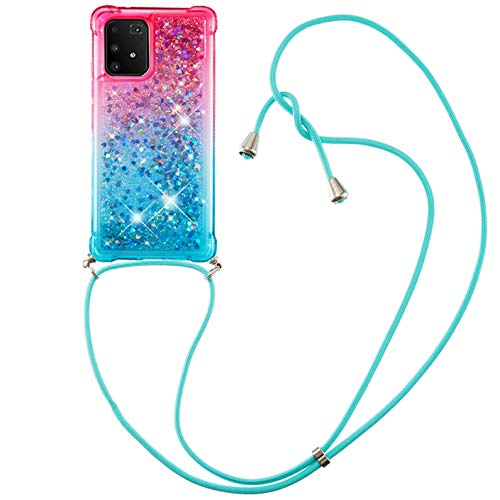 Dclbo - Funda de silicona para Samsung Galaxy A91 / S10 Lite, con cordón de cadena, transparente, rosa y azul