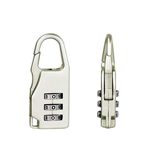 Sluitcilinder voor op reis, 3 cijfercode, combinatie, bagage, pasvorm, vergrendeling, hangslot, koffer, reizen, bagage Wit.