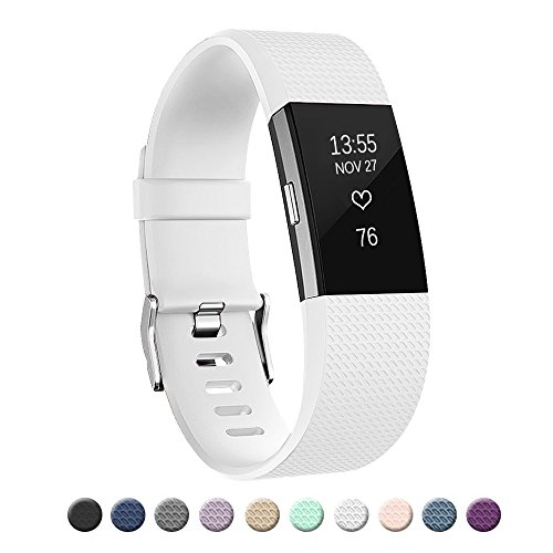 POY Replacement Bands Compatible for Fitbit Charge 2, Classic Edition Adjustable Sport Wristbands, Small White