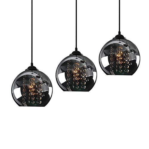 Modern K9 Kristall Leuchte Pendelleuchte Esstischleuchte Retro Glas Globo Lampenschirm Design Anhänger Lüster Hängeleuchte Innen Dekorativ Lampe Beleuchtung Pendellampe Esszimmer Bartheke Ø20cm