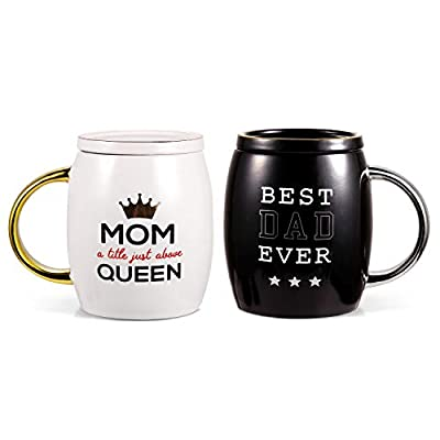 Porcelain Cup Ceramic Coffee Mug and Tea Mug Perfect for Camping or Home for Wedding or Valentine's Day (MOM&DAD)