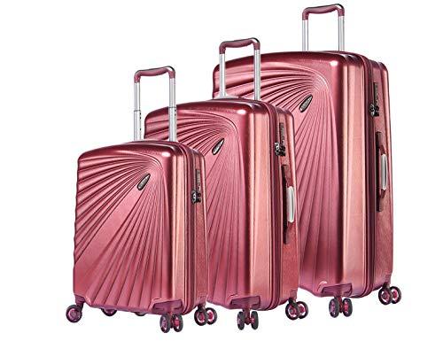 ABISTAB VERAGE Kinetic 4-Doppel-Rolle Kofferset, TSA, erweiterbar, leicht, ABS/PC Trolley-Set 3 teilig S-M-L, große Hartschalen-Koffer mit Handgepäck, Burgund
