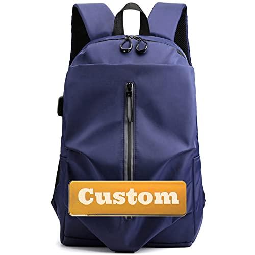 FireH Zaino da viaggio per laptop da gioco personalizzato per la borsa da gioco per laptop 15.6 con porta di ricarica USB (Color : Blue, Size : One size)