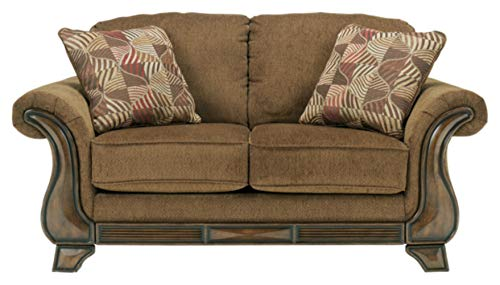 Signature Design by Ashley - Montgomery Traditional Loveseat w/ 2 Accent Pillows, Brown
