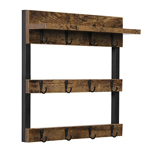 OROPY Rustic Coffee Mug Rack Wall Mounted, Wood Cups Rack Organizer 12 Hooks, with Display Storage and Collection Shelf(Retro Brown)