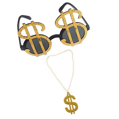 Bonarty 2pcs Gold Dollar Pimp Necklace Sunglasses Gangster Medallion Fancy Dress 70s
