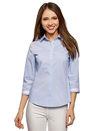 oodji Ultra Damen Bluse mit Kontrastbesatz und 3/4-Arm, Blau, DE 40 / EU 42 / L