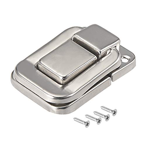 sourcing map Toggle Catch Lock, 48mm Retro Decorative Silver Hasp w Screws for Suitcase Chest Trunk Latch Clasp, Pack of 2