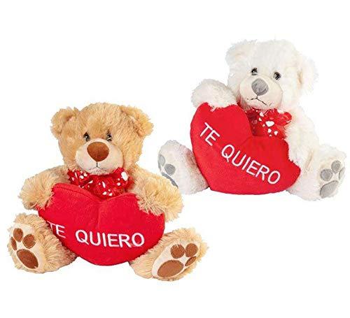 ARTESANIA BEATRIZ, S.L. Peluche de Oso de 2 Colores con Corazón con Bordado de Te Quiero de 40 cm