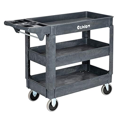 HomVent Heavy Duty Commercial Utility Cart, 3 Shelf Rolling Plastic Utility Cart Tub Cart Work Cart with Wheels Supports Up to 500 Lbs, Great for Warehouse, Garage, Cleaning 40.71 x 17.13 x 33.46inch