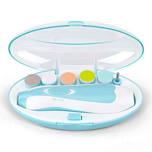 Baby-Nagelfeile, UERMEI Safe 6-in-1-Elektro-Nagelfeile Trimmer Leiser Nagelknipser-Nagelschneider mit LED-Licht, Flüstermodus, Mehreren Geschwindigkeiten und Rotationsmustern für Babys Erwachsene