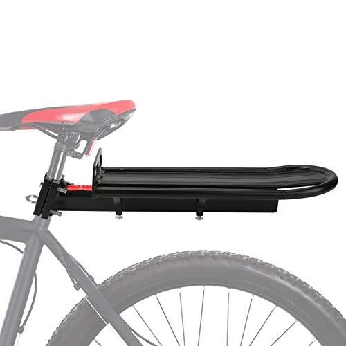 Achort Fahrradträger Gepäckträger Gepäckträgerhalter Verstellbarer Fahrradträgersitz Fahrrad Gepäckträger Schwarz Aluminium Pfostenhalterung 10 kg Kapazität
